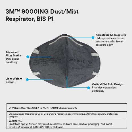 3M 9000ING Antipollution Riding Respirator Mask