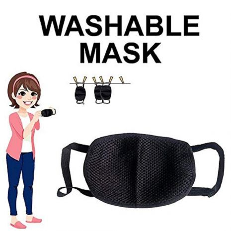 Black Reusable Washable Anti-Pollution Anti-Bacterial 3 Layer Cotton Face MaskBlack Reusable Washable Anti-Pollution Anti-Bacterial 3 Layer Cotton Face Mask